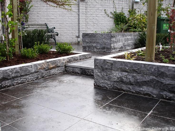 Stapelelementen buiten tuin pinterest for Vijverbak groot