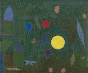 Paul Klee (Münchenbuchsee, Switzerland, 1879 –Muralto, Switzerland,  1940) Full Moon in the Garden  ( Vollmond im Garten ), 1934  Oil on primed canvas 50 .3 x 60 .1 cm Hermann und Margrit Rupf -Stiftung, Kunstmuseum Bern  © Paul Klee 's Estate/VEGAP, 2016