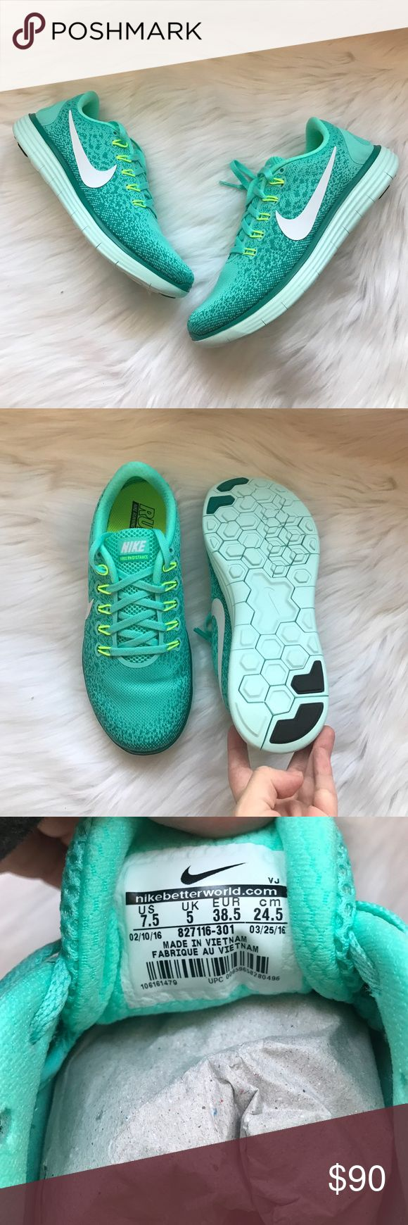 Nike Free Run Distance Sneakers Woman's Nike Free Run Distance Sneakers Style: 827116-301 Hyper turquoise, white, and jade New with original box Size 7.5 Nike Shoes Sneakers