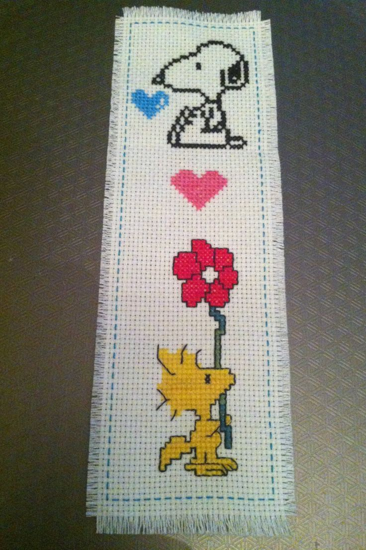 """cuteasmybutt: """"Handmade New Completed Finished Cross Stitch Bookmark Dog Peanuts """"SNOOPY & WOODSTOCK"""" """""""