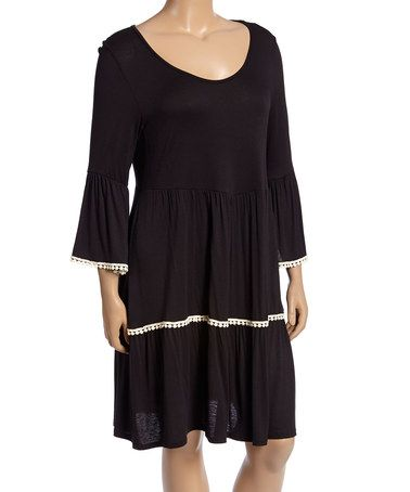Look what I found on #zulily! Black Pom-Pom Bell-Sleeve Shift Dress - Plus #zulilyfinds