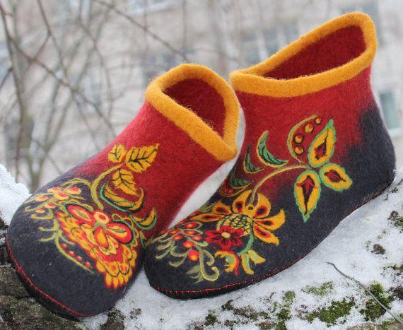 Домашние валяные тапки, домашние валенки, русский стиль, хохлома, бохо, яркие красные расписные башмаки для дома, 100% шерсть, войлок