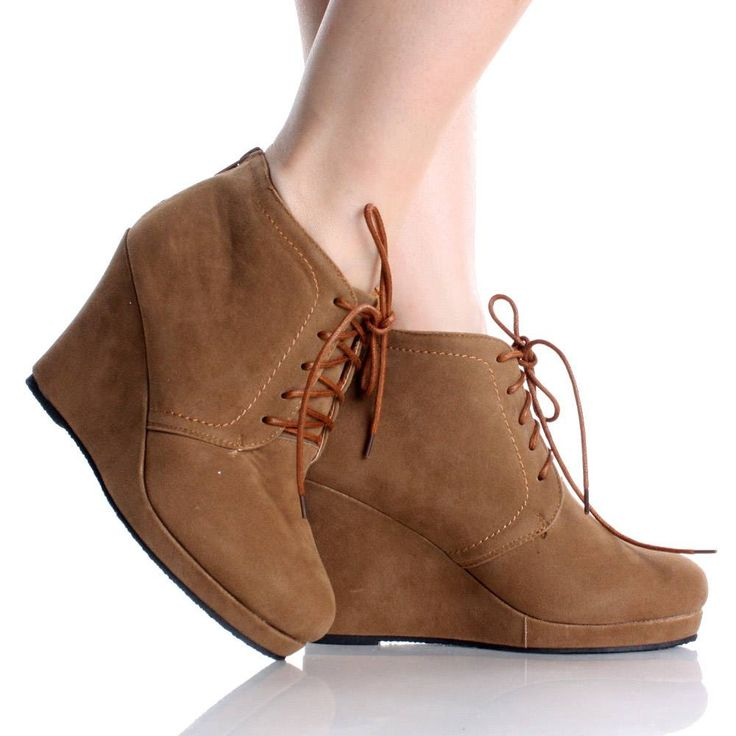 Price:$19.99 Wedge Ankle Booties Brown Lace Up High Heels Womens
