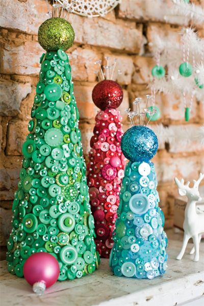 Stitch Craft Create | Craft Project: Button Cone Trees