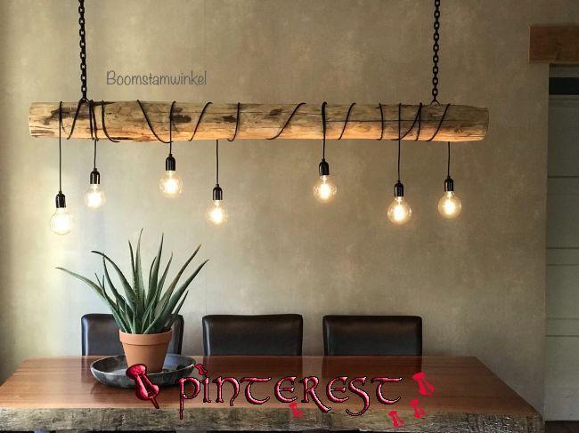 Mobel Aus Holz Und Stahl Und Baumstammleuchten Con Dining Room Lamps Rope Lamp Rustic Lamps M In 2020 Lampen Wohnzimmer Esszimmerleuchten Selbstgemachte Lampen