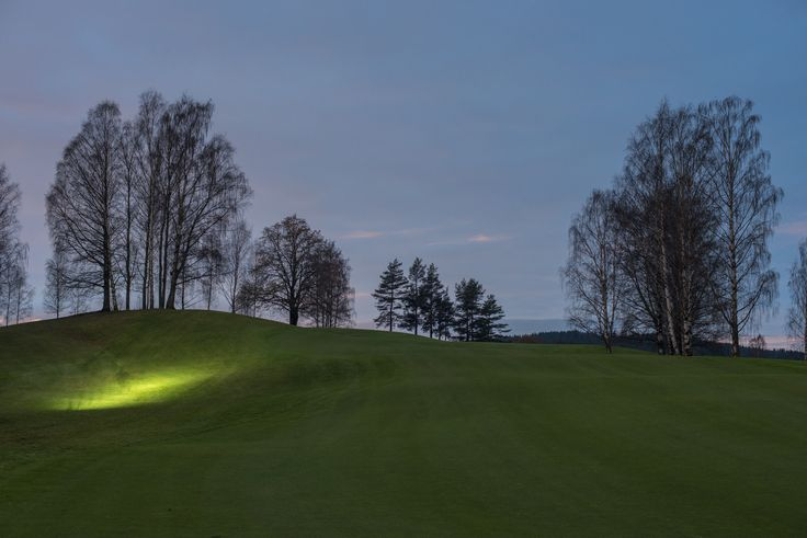 Bogstad Golfcourse, one man was running with headlamp, grateful for the light he provided.