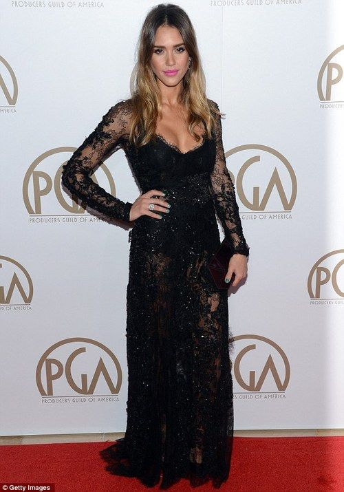 Jessica Alba at the Producers Guild of America in a stunning black Elie Saab Haute Couture gown