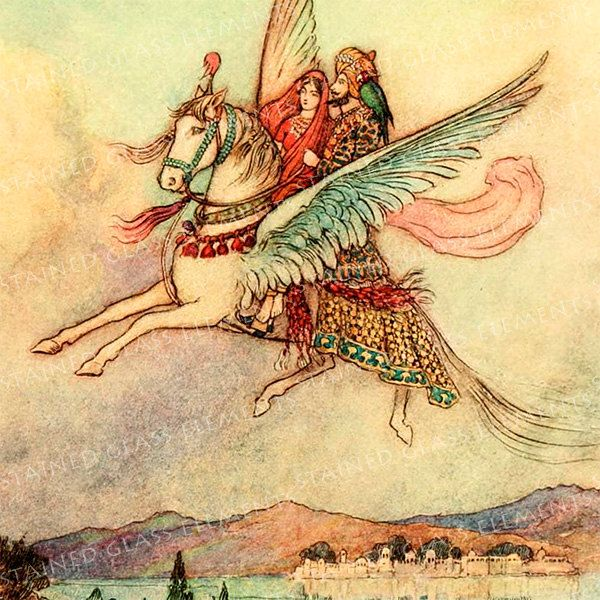 Warwick Goble ceramic decal, 10 x 10cm (3.94 x 3.94 inch), firing temperature 760-850 ºC (1400-1562 ºF), flying horse decal, princess, India door StainedGlassElements op Etsy