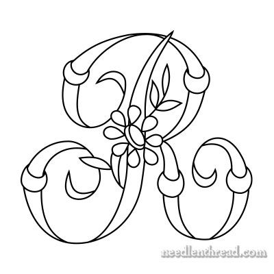 Free Monograms for Hand Embroidery: 'R' via Mary Corbet
