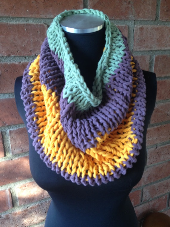 Recycled T-Shirt Cowl  Created from my own handmade T-shirt 'yarn'!  $38