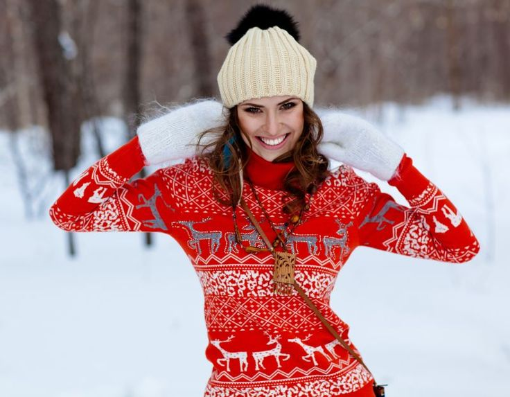 The home-made Christmas sweater your mom gifted you might be a little itchy, but it isn't the worst thing ever. Pair it with some cute gloves and accessories for that adorbs Christmas-y look!