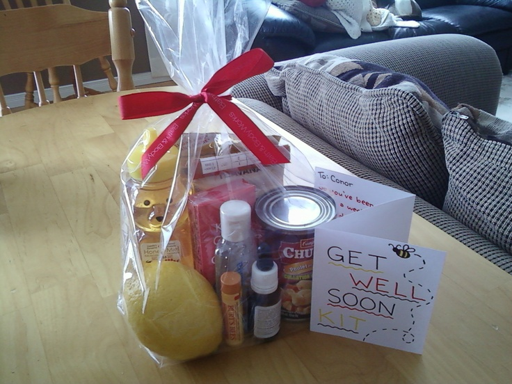 homemade get well soon kit that I made for my boyfriend (: honey, lemon, cough drops, tea, chicken noodle soup, chapstick, hand sanitizer, oil of oregano, tissues