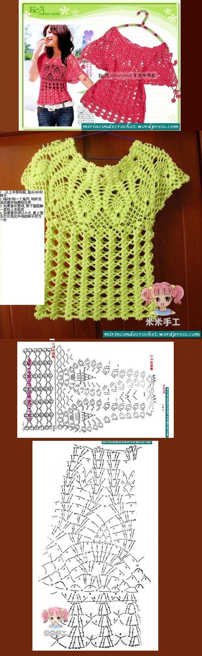 Blusa encantadora., #free #crochet #pattern <3ceruleana<3