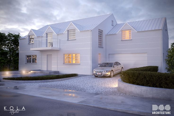 House in a belgian style, finished with white brick. Visualization of a project by D44 Architecture.