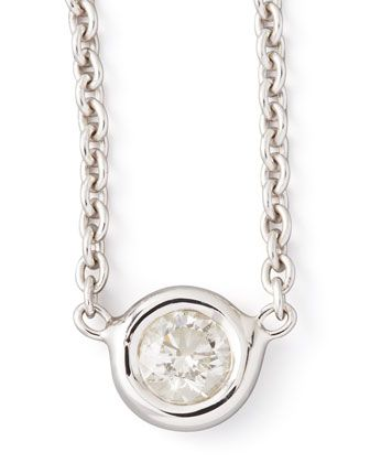 18k White Gold Single Diamond Necklace by Roberto Coin at Neiman Marcus.= classic