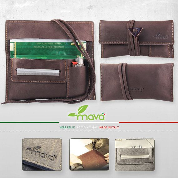 Leather tobacco pouch Brown Velvet with lighter pouch - Handmade & Made in Italy