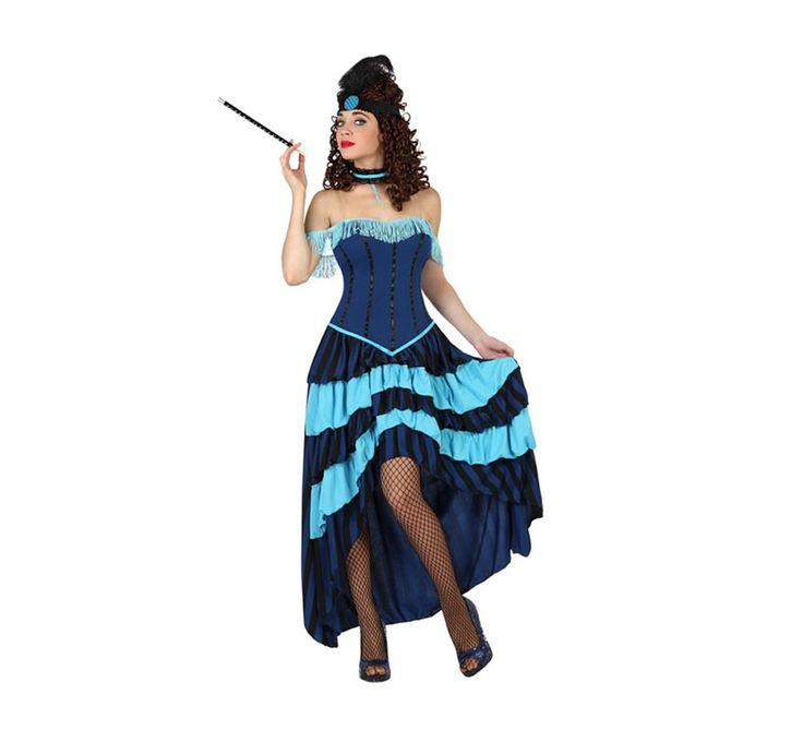 Disfraz de Cabaretera o Burlesque azul para mujer. Talla XL = 44/48. Incluye vestido y gargantilla. Boquilla, medias, tocado y zapatos NO incluidos. Podrás encontrar complementos en nuestra sección de Accesorios.