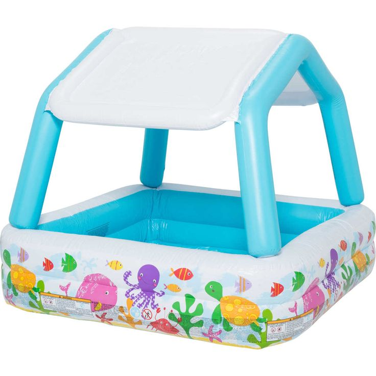 Set your garden up for year-round fun with the Sun Shade Pool from Intex. This inflatable pool features a protective canopy that offers shade from the sun and cute sea-creature prints to side.