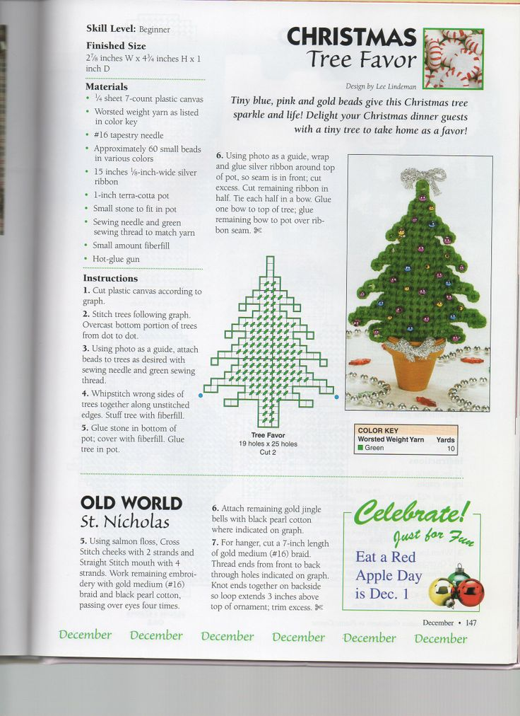 201 ALL-OCCASION ORNAMENTS IN PLASTIC CANVAS * CHRISTMAS TREE FAVOR by LEE LINDEMAN - PAGE 147