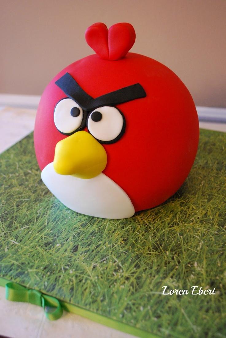 Red Angry Bird Cake by Loren Ebert  The Baking Sheet  www.thebakingsheet.blogspot.com
