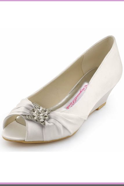 8df805905b36 ElegantPark Women Peep Toe Pumps Rhinestones Mid Heel Wedges Satin Wedding  Bridal Shoes wedge heel wedding shoes  wedding  WeddingShoes  WomensFashion    ...