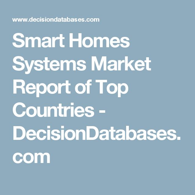 Smart Homes Systems Market Report of Top Countries - DecisionDatabases.com