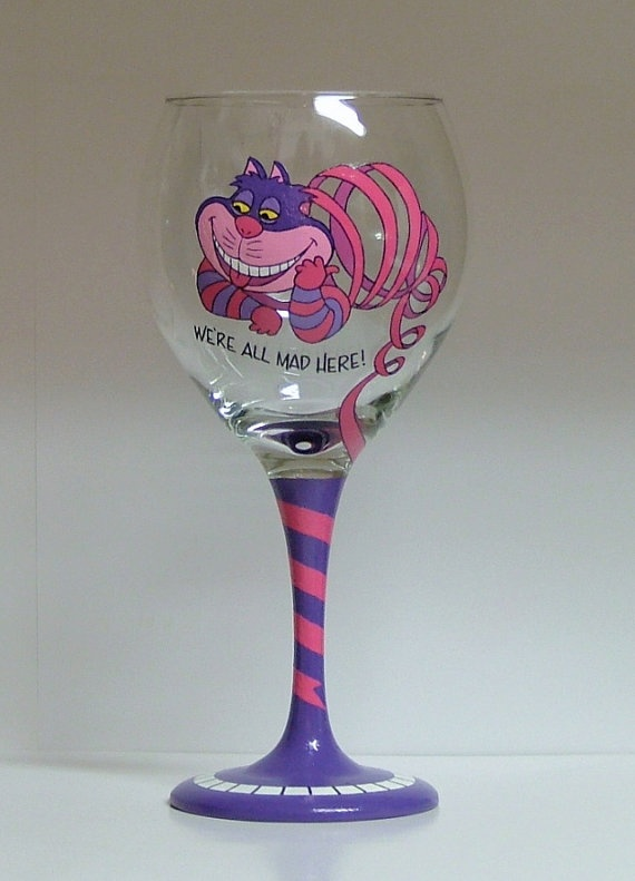 Cheshire Cat  Hand Painted Wine Glass by AGlassofClass on Etsy, $30.00