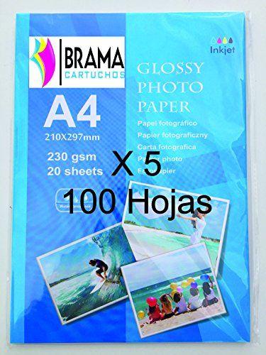 100 Hojas de Papel Fotográfico Glossy A4 de 230g Para Cualquier impresora de Inyección de tinta. Hp ,Brother, Epson,Canon, Apple etc Bramacartuchos http://www.amazon.es/dp/B0168RYMUW/ref=cm_sw_r_pi_dp_tq1jwb0XT0YNG