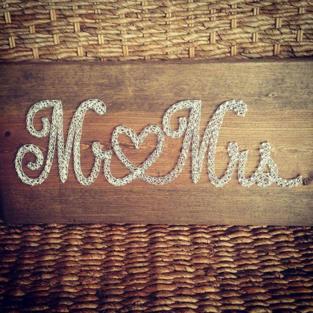 Mr & Mrs String Art Sign, Rustic Wedding Decor, Neutral Color Nail and String Sign, Wedding Decoration Gift