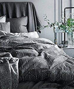 Amazon.com: Modern Geo Leaf Block Print Cotton Quilt Duvet Cover Shadow Grey Geometric Floral Leaves Outline Pattern Bedding Set Minimalist Bloom Tile Design Ash Gray White (Twin, Grey): Home & Kitchen