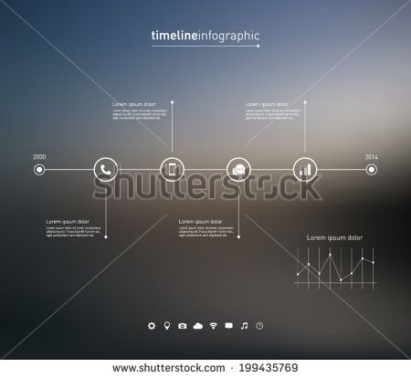Timeline infographic with unfocused background and icons set for business design, reports, step presentation, number options, progress, workflow layout or websites. Clean and modern style - stock vector