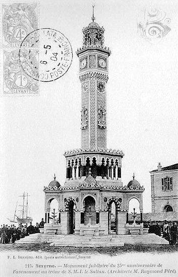 II.Abdülhamit'in tahta çıkışının 25. yıl dönümünde dikilen İzmir Saat Kulesi (1901)