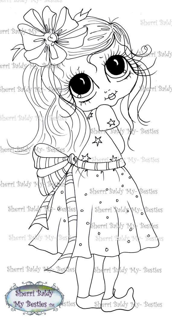 INSTANT DOWNLOAD Digital Digi Stamps Big Eye Big Head Dolls Digi My - Besties IMG347 By Sherri Baldy( I have this to color)