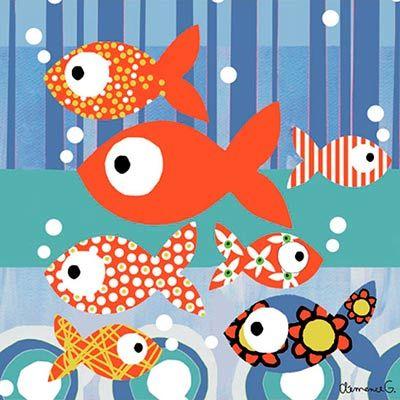 Cuadro infantil Pequeños peces de Lilipinso.