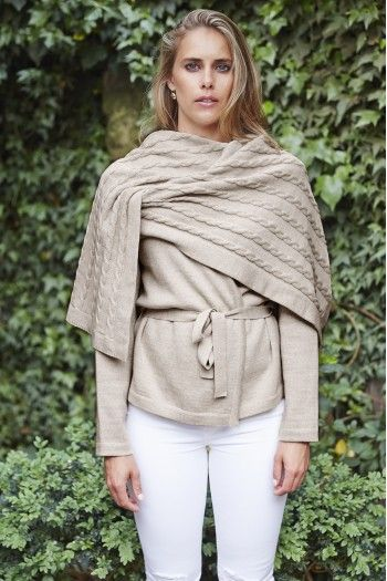 Cable Knit Cardigan Wrap in Taupe - Lady Kate Merino Knitwear