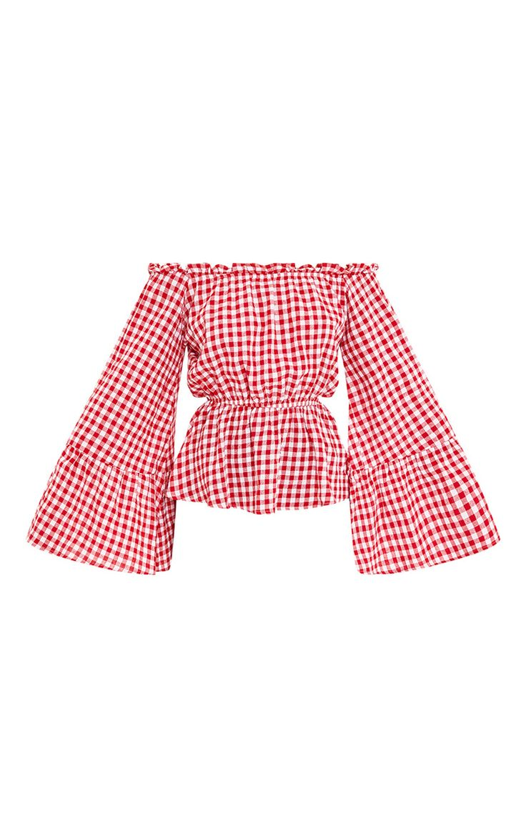 Red Gingham Check Bardot Top Girl dive straight into the new season with this insanely on-po...