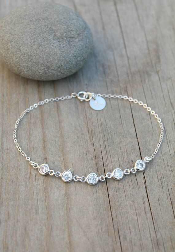 cd5ee0c344e6 Silver Initial bracelet, cubic zirconia cz diamonds, 925 sterling silver  personalized custom stamped circle disc, customized engraved circle