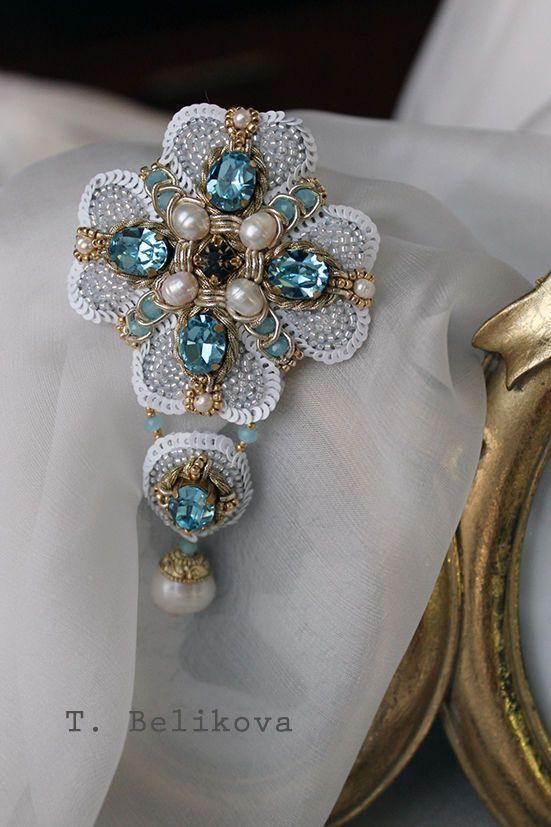 Купить Брошь B2016-1. - голубой, бело-голубой, орденок, брошь, брошь-орден, орден