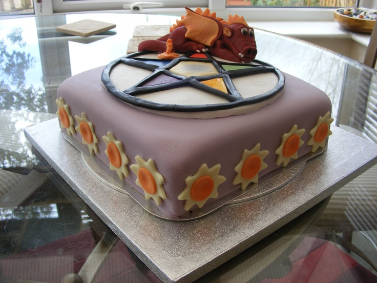 SUmmer Solstice Cake with Dragon theme - Summer Solstice celebration cake with Dragon theme. Lemon sponge with Orange BC, fondant covered