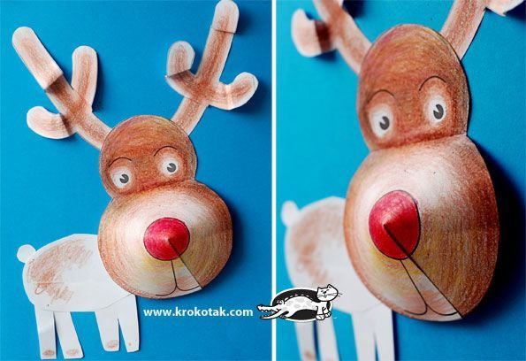 Rendier - kerstknutsel - met uit te printen plan - http://krokotak.com/2012/11/3d-winter-collages-printable-templates/