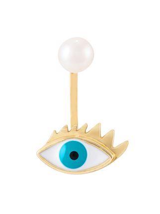 """400€ Delfina Delettrez boucle d'oreille """"Eye piercing"""" en or 9ct, perle et émail"""