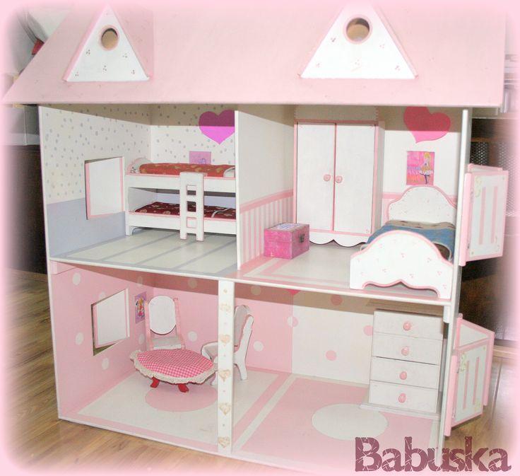 Casa de barbie en madera pintada decorada y laqueada a mano - Casa madera infantil ...