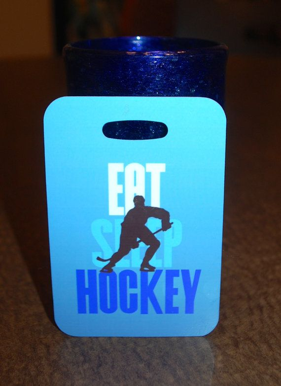 Eat Sleep Hockey Bag Tag Luggage Tag by FlipTurnTags on Etsy, $5.95