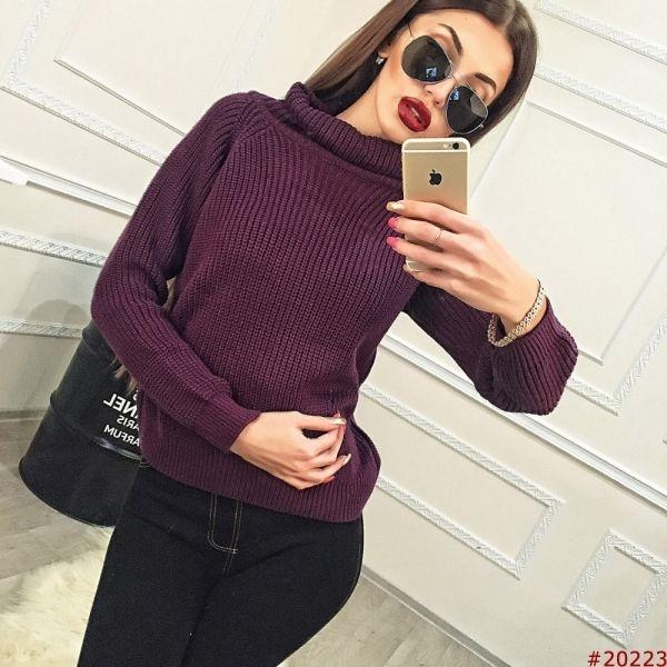 Женский свитер вязанный однотонный воротник хомут темно-фиолетовый