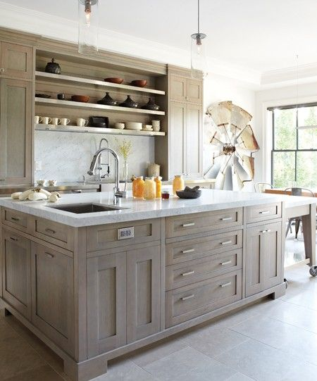 Stained Kitchen Cabinets: Light Grey Washed Cabinets