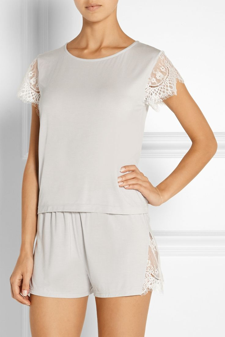 Cheek Frills x Carolyn Murphy|Lace-trimmed stretch-modal pajama set|NET-A-PORTER.COM