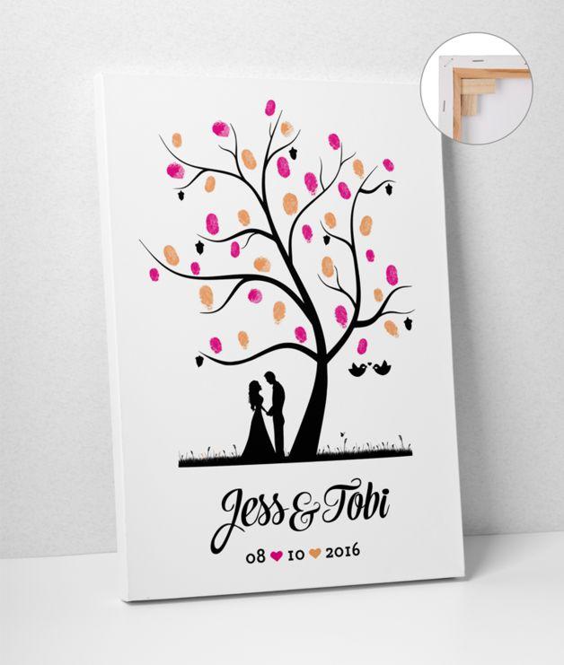Hochzeitsgästebuch - Wedding Tree 50x70 Leinwand Hochzeit - ein Designerstück von deinweddingshop bei DaWanda