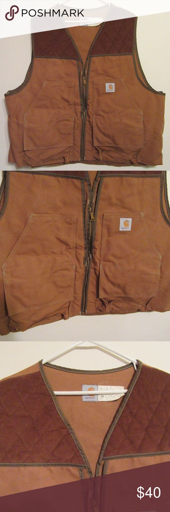 Carhartt Hunting Shooting Pheasant Bird Vest XXL Up for sale is a Carhartt Hunting / Shooting bird / pheasant vest.  Vest is size XXXL.  Zipper front.  Brown / tan in color.  Light wear from use.  In great used condition.  Padded shoulder, two front pockets and zipper back pocket (see pics).  Comes from a smoke free home. Carhartt Jackets & Coats Vests
