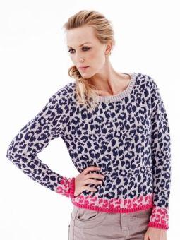 Sticka en leopardmönstrad tröja i eko bomull+merino ull.Varje varvs…