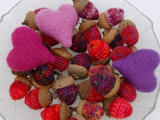 felted hearts and acorns